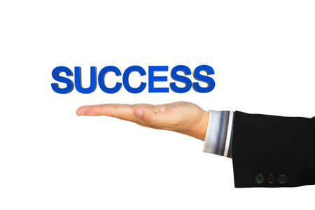 hand key: Success message in businessman hand, Isolated over white Stock Photo