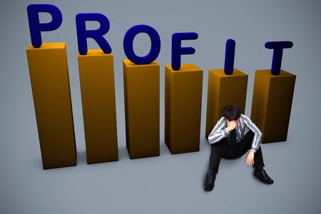 bad leadership: Depressed businessman sitting on the floor  Lost in profit concept Stock Photo