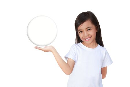 Little girl Hand holding a Glass Ball, Isolated over white photo