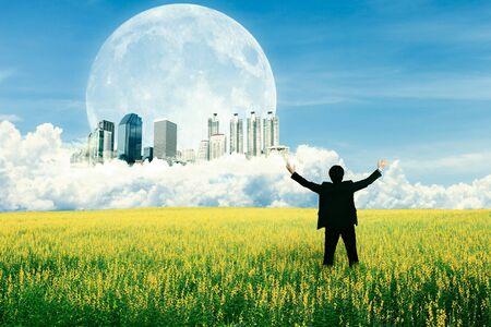 inspiratie: Zakenman staande op het veld en kijken naar de toekomstige stad op de wolk