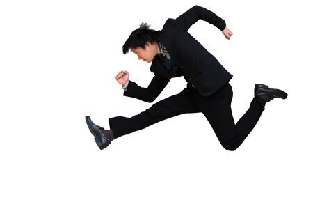 Running   Jumping businessman isolated on white background photo