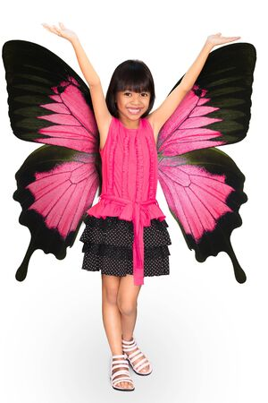 queen of angels: Little girl with butterfly wings, Isolated on white