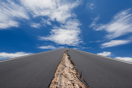 earthquake crack: Cracked road with motion cloud background