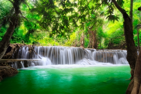 background waterfalls: Thailand waterfall in Kanjanaburi  Huay Mae Kamin