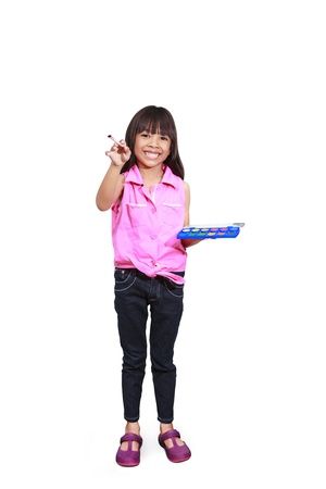 Little asian girl with a paintbrush, Isolated-on white with clipping path photo