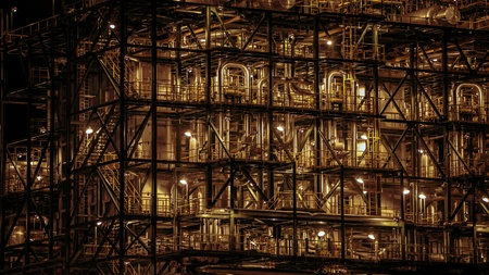 Close-up of industrial pipelines of an oil-refinery plant photo