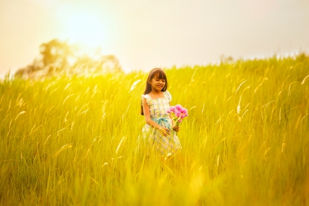 lifestyle outdoors: Little girl on meadow with sunset