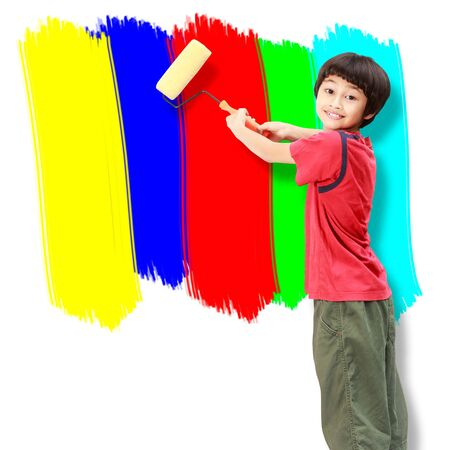 asian art: Asian boy use paint roller painting the wall Stock Photo