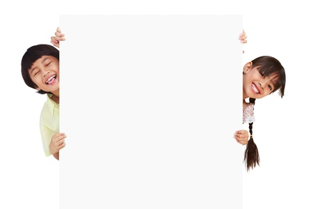blank faces: Children posing with a white board, Isolated on white Stock Photo