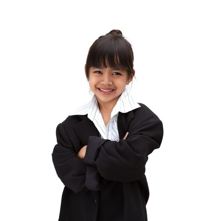 Little asian girl in business suit, Isolated over white photo