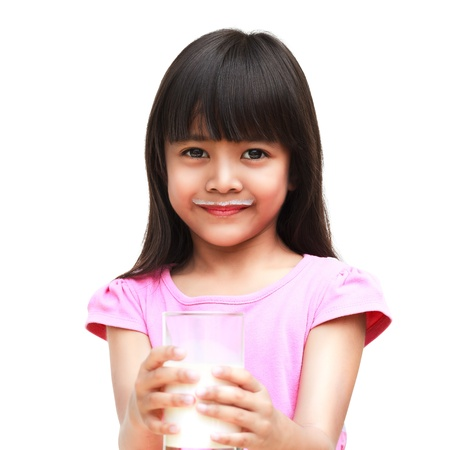 milk mustache: Little asian girl with a milk mustache, Isoated over white