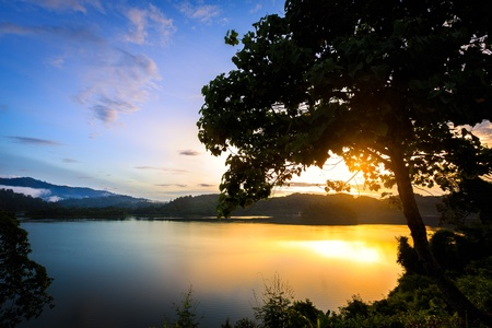 Sunrise at khao sok ,Surat thani Thailand photo