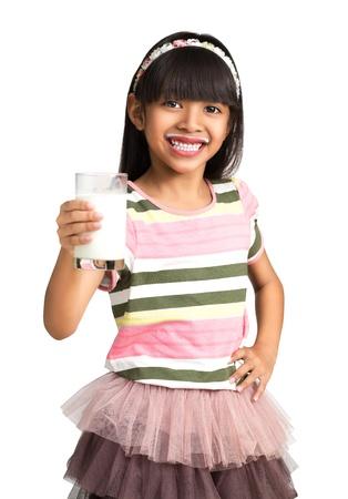 milk mustache: Happy asian girl with milk mustache