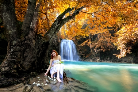 Dream forest, Young asian woman relaxing under the tree near waterfall photo