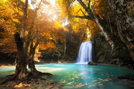 táj: Deep forest Waterfall Kanchanaburi, Thaiföld Stock fotó