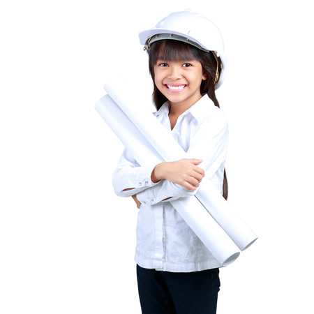 Little Engineer, Little girl in the construction helmet with a poster, Isolated on white Stock Photo - 23662948