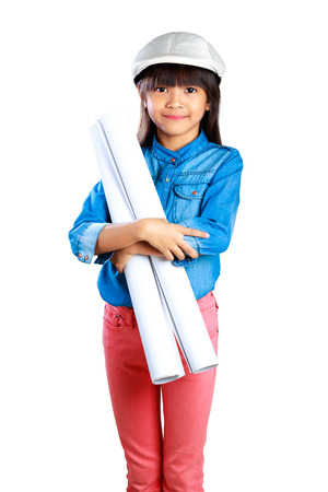 Little girl holding a poster, Isolated on white with clipping path photo