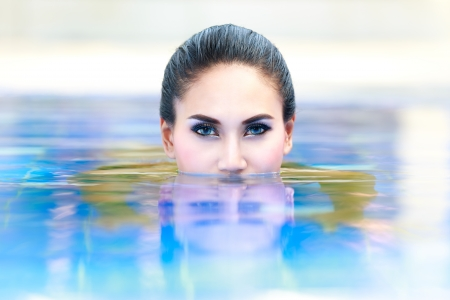 Closeup face of woman in the water photo