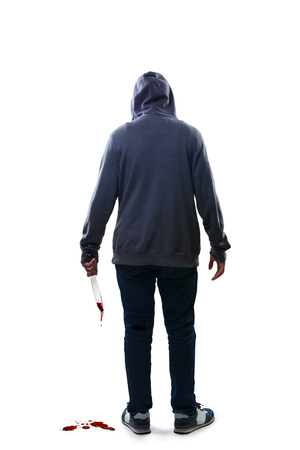 Murderer, Isolated over white background photo
