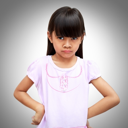 Angry little asian girl photo