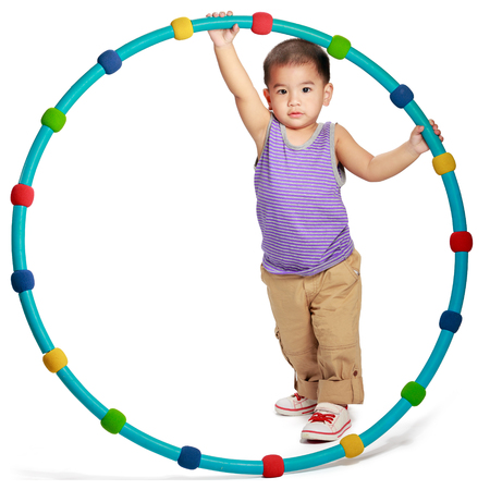 Little asian boy with hoop, healthy concept, Isolated over white photo