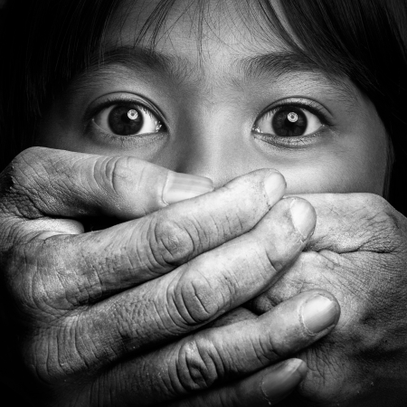 eyewitness: Scared little asian girl, Violence concept black and white