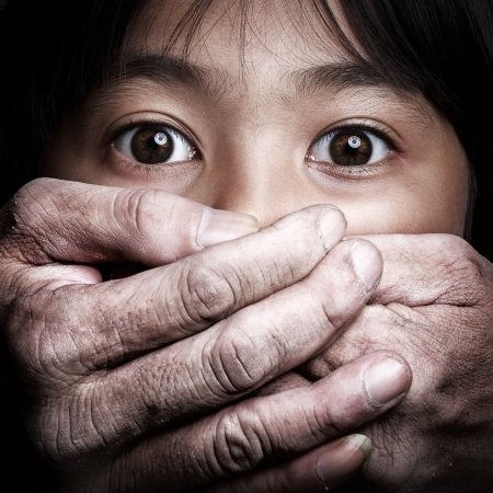 Scared little asian girl, Violence concept