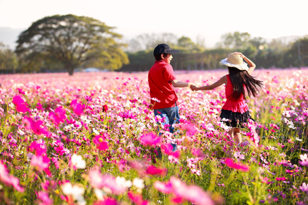 Happy children fun at cosmos flowers field, Outdoor photo