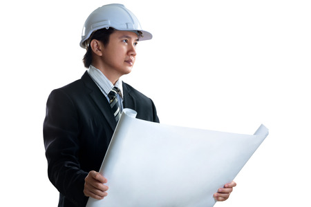 Asian engineer, Isolated over white photo