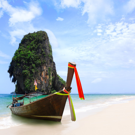 Thailand exotic sand beach and boats in asian tropical island, Krabi, Thailand photo