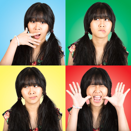 Collage portrait teenager asian girl with difference emotions photo