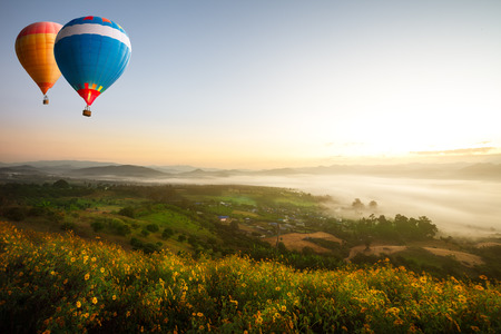 sıcak: Hot air balloons over sea of mist