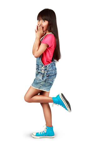 little girl surprised: Surprised little asian girl excited, Isolated over white