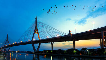 bhumibol: Bhumibol bridge at evening, Bangkok Thailand