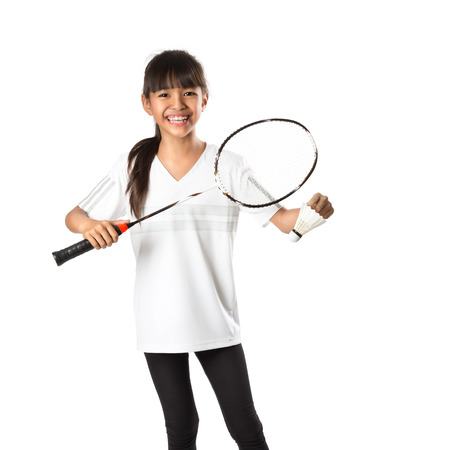 Little asian girls with badminton, Isolate over white