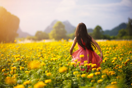 Little asian girl in flower fields, Outdoor portrait photo