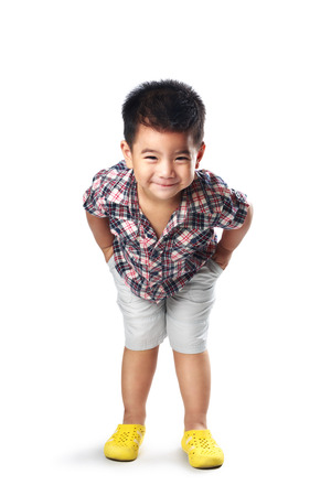 1 2 years: Adorable little asian boy posing, Isolated over white