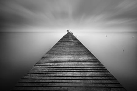 Wooded bridge in B&W photo