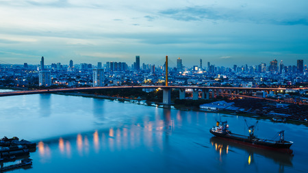 moon fish: Landscape of river in bangkok city in twilight time, Thailand