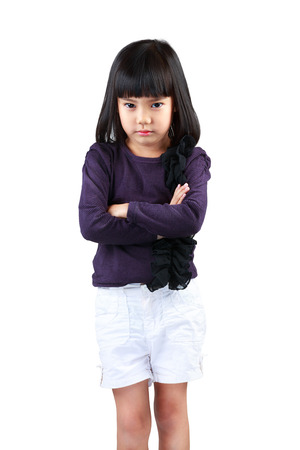 asian toddler: Angry little girl, Isolated over white