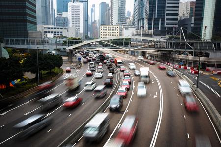 hong kong: Cars In motion blur on road Hong Kong China