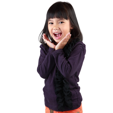 Surprised little asian girl, Isolated over white photo
