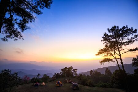 national plant: Beautiful twilight time nature mountains and sky at huai nam dang national park, Chiang mai, Thailand