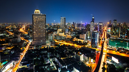 night life: Bangkok cityscape business district with high building at dusk, Bangkok Thailand