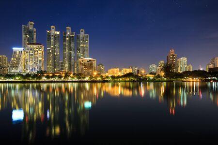 Benchakitti Park at night, Cityscape of Bangkok, Thailand photo