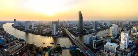 Panorama of Bangkok city at sunset photo