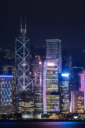 city light: Hong Kong city at night Stock Photo