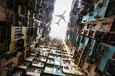 airplane window: Old apartment in hong kong Stock Photo