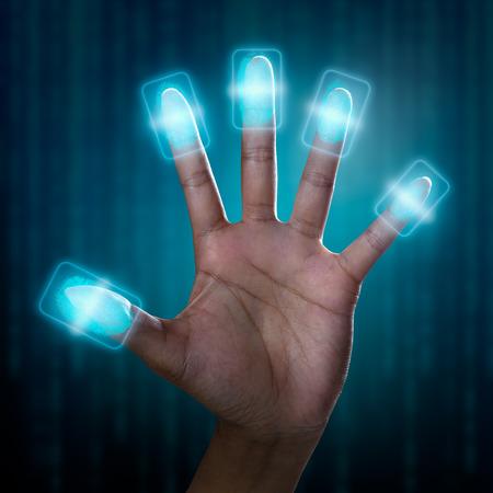 biometric: Futuristic fingerprint scanning device biometric security system