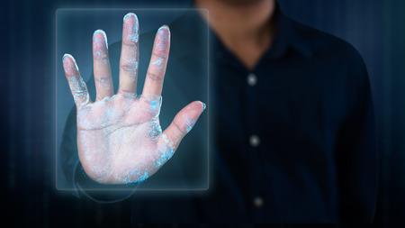 Dispositivo de escaneo de huellas digitales futurista sistema de seguridad biométrico Foto de archivo
